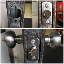 Metal Door with Enlarged Deadlatch Holes